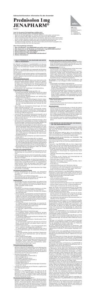 Prednisolon 1 mg JENAPHARM - mibe GmbH Arzneimittel