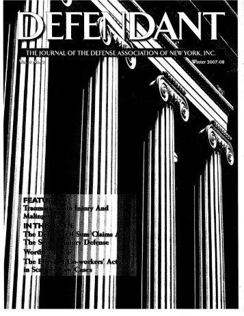 Winter 2007-08 - The Defense Association of New York, Inc.