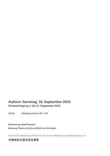 Auktion: Samstag, 18. September 2010 - Koller Auktionen