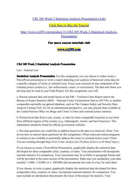 CRJ 305 Week 2 Statistical Analysis Presentation-crj305dotcom