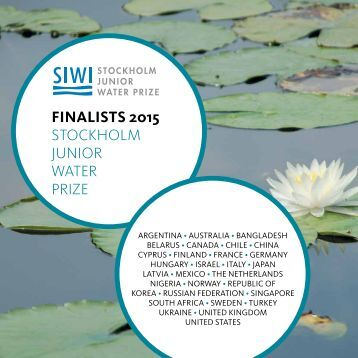 2015 Stockholm Junior Water Prize Finalists Catalogue