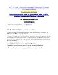 MKT 431 Week 3 Individual Assignment Niche Marketing and Customer Involvement Presentation.pdf