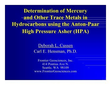Determination of Mercury and Other Trace Metals in Hydrocarbons ...