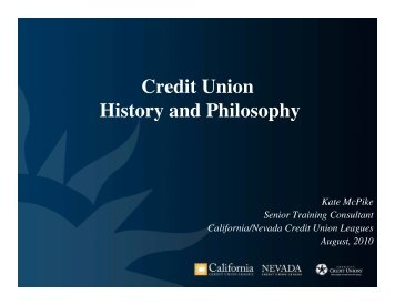 Credit Union History and Philosophy