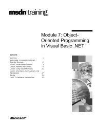 Module 7 Object- Oriented Programming in Visual Basic .NET