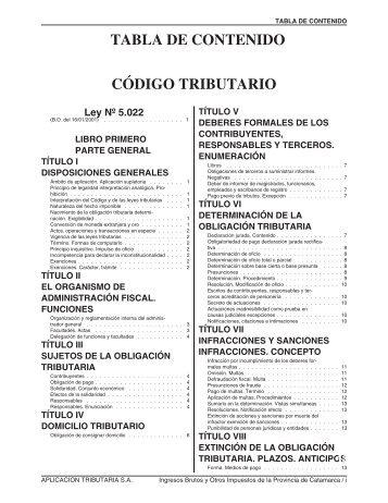 TABLA DE CONTENIDO CÓDIGO TRIBUTARIO1