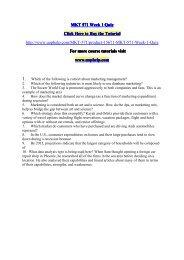 MKT 571 Week 1 Quiz/UOPHELP