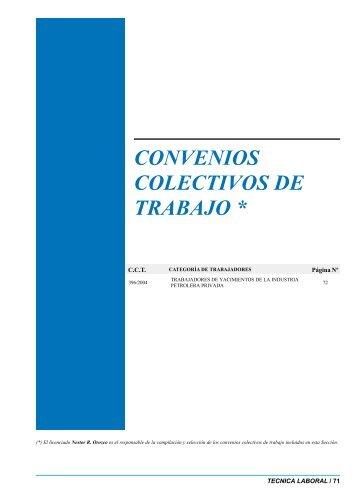 CONVENIOS COLECTIVOS DE TRABAJO *
