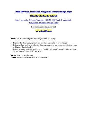 DBM 380 Week 2 Individual Assignment Database Design Paper-dbm380dotcom