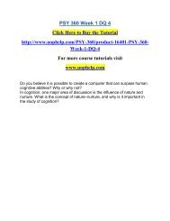 PSY 360 Week 1 DQ 4