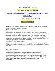 PSY 360 Week 4 DQ 4