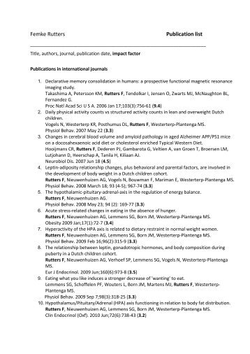 Femke Rutters publications (PDF 92KB)