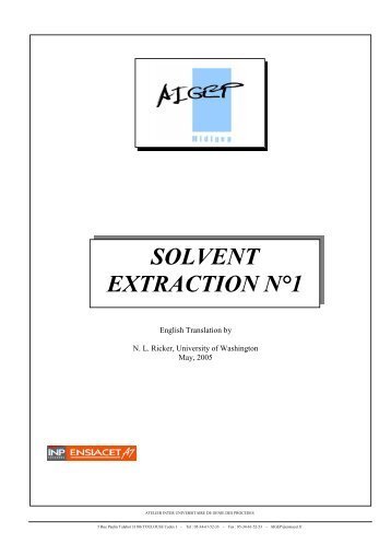 SOLVENT EXTRACTION N°1