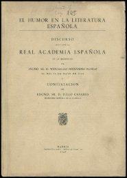 EL HUMOR EN LA LITERATURA SPAÑOLA REAL ACADEMIA ESPAÑOLA