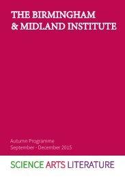 THE BIRMINGHAM & MIDLAND INSTITUTE SCIENCE ARTS LITERATURE