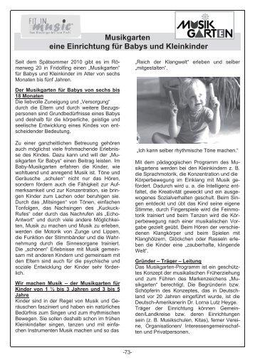 Musikgarten eine Einrichtung für Babys und Kleinkinder