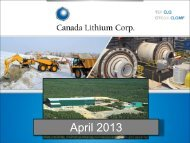 April 2013 - Canada Lithium Corp.