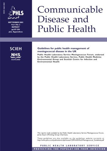 Guidelines for public health management of meningococcal disease