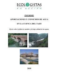 INFORME APORTACIONES Y CONSUMOS DE AGUA EN LA CUENCA DEL TAJO 2010