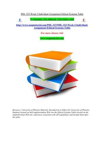 PHL 323 UOP Course, PHL 323 UOP Tutors - PHL 323 Week 4 Individual