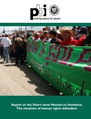 Report of the Short-term Mission to Honduras - Peace Brigades ...
