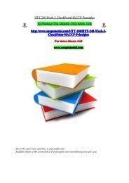 HTT 240 Week 3 CheckPoint HACCP Principles/snaptutorial