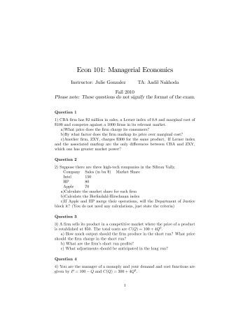 Managerial economic homework 1