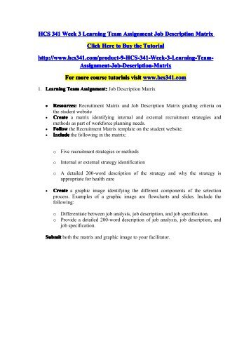 job description matrix Job requirement matrix (jrm) task specific tasks task dimension importance ( % time spent) nature ksaos importance to tasks ( 1 ± 5 ratings ) 1.
