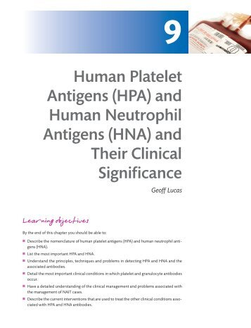Human Platelet Antigens (HPA) and Human Neutrophil Antigens ...