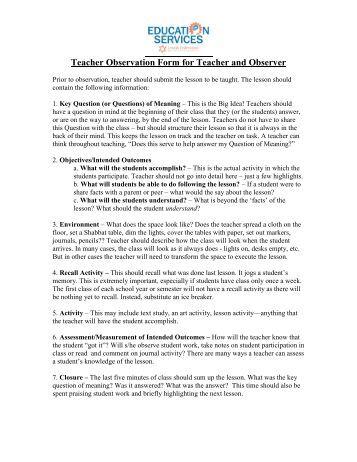 Teacher Observation Form for Teacher and Observer