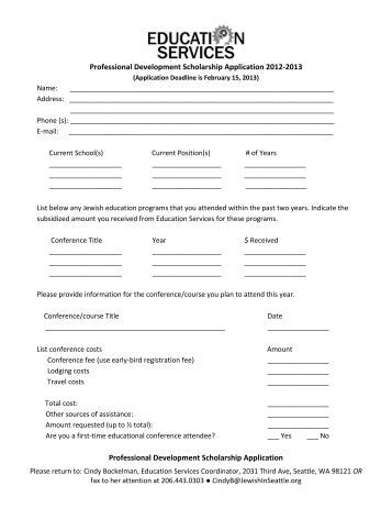 Professional Development Scholarship Application 2012-2013 ...