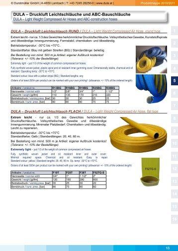 DULA – Druckluft Leichtschläuche und ABC-Bauschläuche 1 2 3 4 5 ...