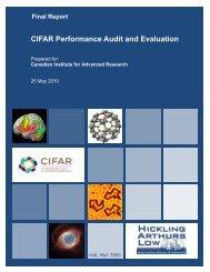 CIFAR Performance Audit and Evaluation