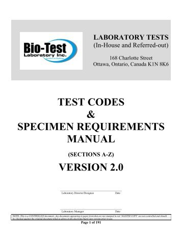 Test specification guide cml healthcare test codes specimen requirements manual version 20 fandeluxe Choice Image