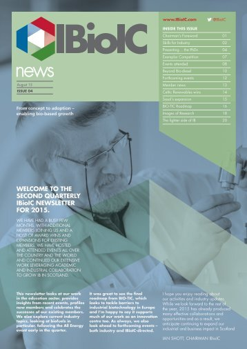 WELCOME TO THE SECOND QUARTERLY IBioIC NEWSLETTER FOR 2015