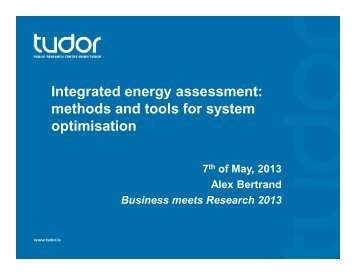 methods and tools for system optimisation - Business meets Research
