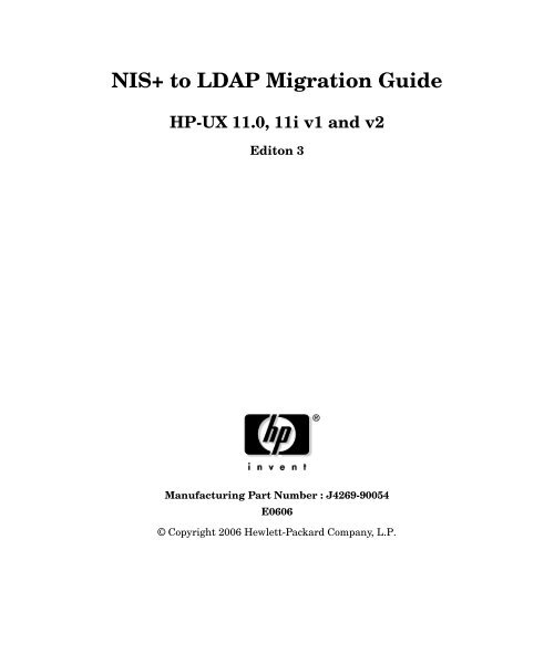NIS+ to LDAP Migration Guide - Hewlett Packard