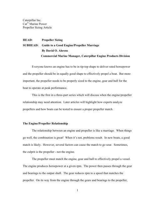 Propeller Sizing - Marine Engines Caterpillar - Caterpillar Inc