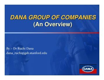DANA GROUP OF COMPANIES (An Overview)