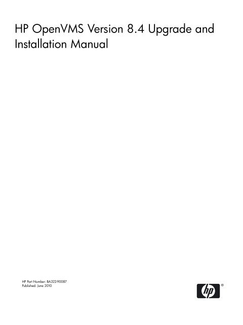 HP OpenVMS Version 8 4 Upgrade and Installation Manual