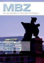 MBZ Ausgabe 10/2009 - Zahnärztekammer Berlin