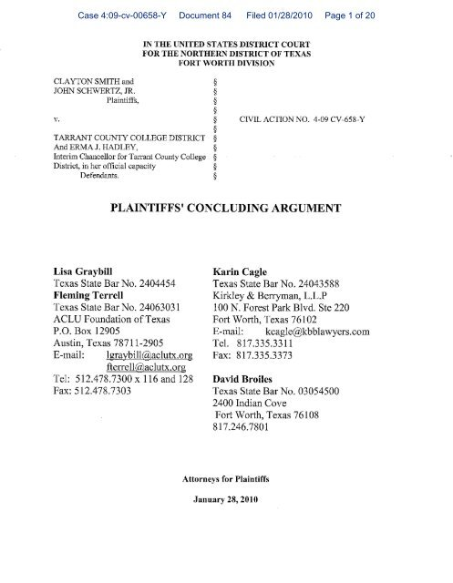 Case 4:09-cv-00658-Y Document 84 Filed 01/28/2010 Page 1 of 20