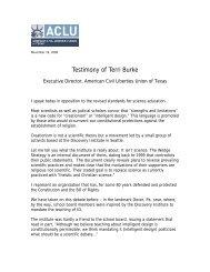 Testimony of Terri Burke