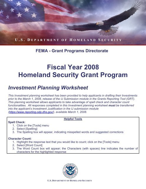 Fiscal Year 2008 Homeland Security Grant Program