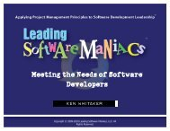 Meeting the Needs of Software Developers