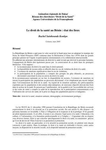 Le droit de la santé au Bénin  état des lieux