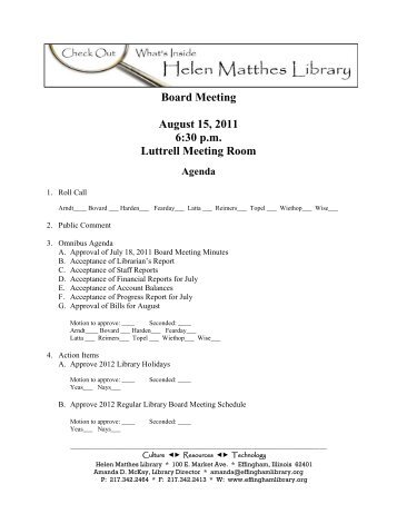 Board Meeting August 15 2011 6:30 p.m Luttrell Meeting Room