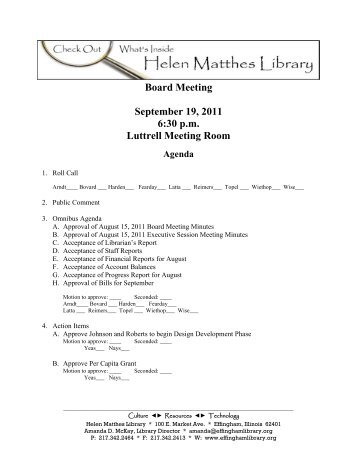 Board Meeting September 19 2011 6:30 p.m Luttrell Meeting Room