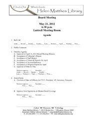 Board Meeting May 21 2012 6:30 p.m Luttrell Meeting Room