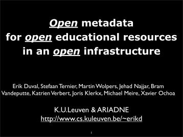 Open metadata for open educational resources in an open infrastructure